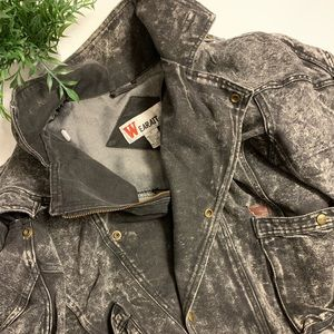 Vintage men's black denim moto jacket